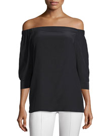 Joscla Mosaic Off-The-Shoulder Silk Top