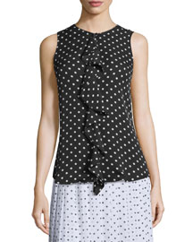 Jastrid Haze Dot-Print Sleeveless Top