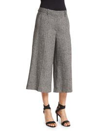 Halientra Wide-Leg Cropped Pants, Black/White