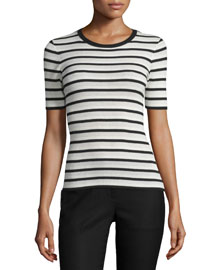 Leneva Refine Striped 1/2-Sleeve Top
