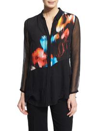 Aisley Abstract-Print Blouse, Black/Multi