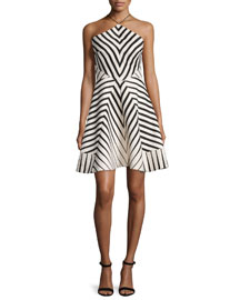 Halter-Neck Striped Fit & Flare Dress