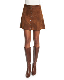 Bogart Suede Button-Front Skirt, Tobacco