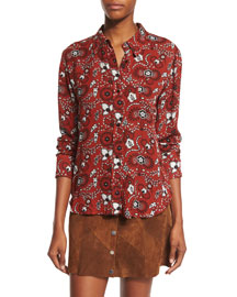 Scott Long-Sleeve Floral Silk Top, Henna/Black/White