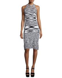 Josie Sleeveless Fitted Sweater Dress, Black/White