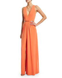 Sleeveless V-Neck Belted Gown, Mandarin