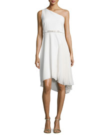 One-Shoulder Asymmetric Belted Dress, Eggshell