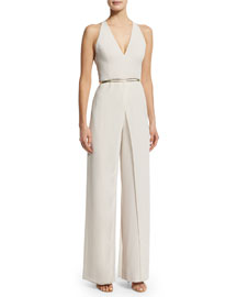 Halter-Neck Wide-Leg Jumpsuit, Oyster