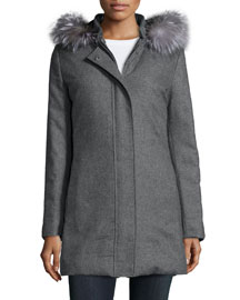 Fur-Trim Reversible Puffer Coat