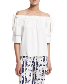 Hanne Off-the-Shoulder Poplin Top, White