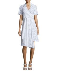 Short-Sleeve Vivien Cotton-Blend Shirtdress, Black/White