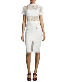 Asia Short-Sleeve Lace Sheath Dress, White