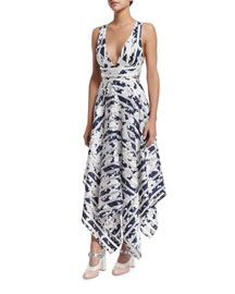 Keilani Sleeveless Striped Midi Dress, Navy Blossom