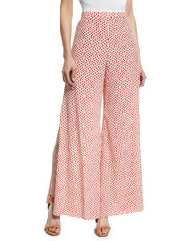 Fiorello Wide-Leg Polka-Dot Pants, Red/White