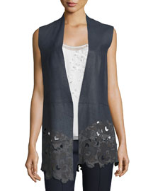 Laila Open-Front Leather Vest, Navy