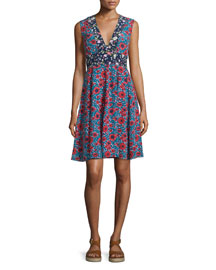 Lindsay Sleeveless Floral Silk Dress