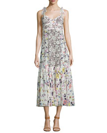 Sleeveless Floral Silk Midi Dress, Cream