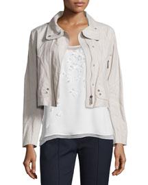 Ripley Zip-Front Cropped Jacket, Macrame