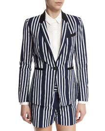 Windsor Striped Woven Blazer, Navy/White
