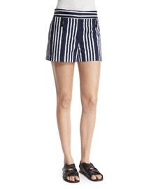 Willow Striped Cotton-Blend Shorts, Navy/White