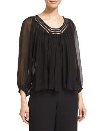 Lace-Trim Silk Chiffon Top, Black
