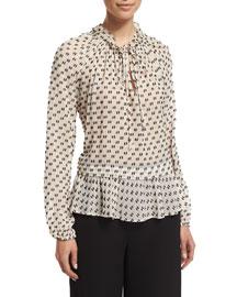 Long-Sleeve Chiffon Box-Clip Top, Cream/Black
