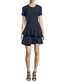 Tiered Stretch Jacquard Dress, Navy