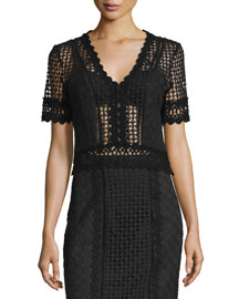 Short-Sleeve Crochet Lace Top, Black