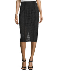 Lace Crochet Pencil Skirt, Black