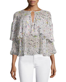 Long-Sleeve Floral Silk Top, Cream