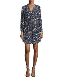 Long-Sleeve Floral Silk Drawstring Dress, Blackberry