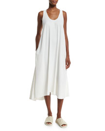 Woven Racerback Midi Dress, White