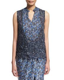 Lacey Sleeveless Floral-Print Blouse, Stargazer