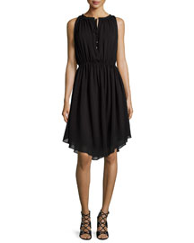 Sleeveless Shirred Chiffon Dress, Black