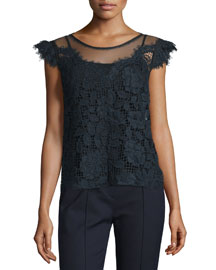 Virginia Floral-Lace Blouse, Stargazer