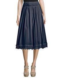 Pleated Lace-Trim Cotton Midi Skirt, Midnight