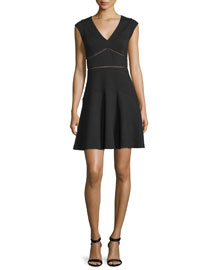 Taylor Waffle-Knit Circle Dress, Black