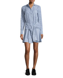 Long-Sleeve Striped Cotton Tie-Waist Shirtdress, Midnight/Soft White