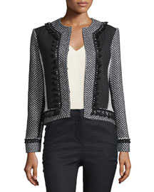 Tassel-Trim Tweed Linen-Blend Jacket, Soft White/Black
