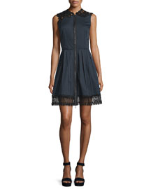 Sleeveless Lace-Trim Dress, Navy Yard