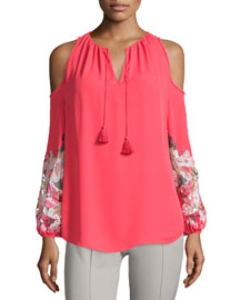 Cathy Cold-Shoulder Embroidered Blouse, Paradiso/White