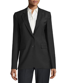 Aaren Continuous Wool-Blend Jacket, Black