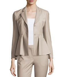 Braneve Wool-Blend Peplum Jacket, Gray