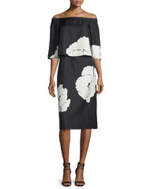 Amara Printed Popover Dress, Black