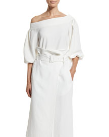 Twill One-Shoulder Blouse, White