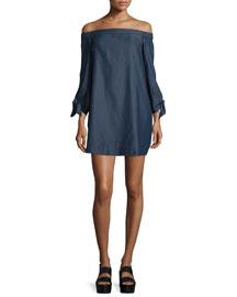 Chambray Off-the-Shoulder Mini Dress, Dark Denim