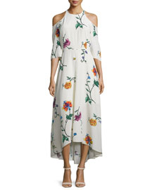 Bella Floral Silk Cold-Shoulder Midi Dress, Opal/Beige