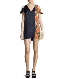 Floral-Trim Hammered Satin Cold-Shoulder Mini Dress, Black/Multicolor