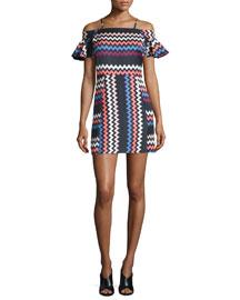 Chevron Cold-Shoulder Mini Dress, Multicolor