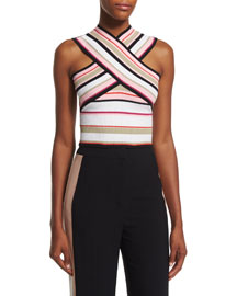 Striped Ribbed Cross-Front Top, Multicolor
